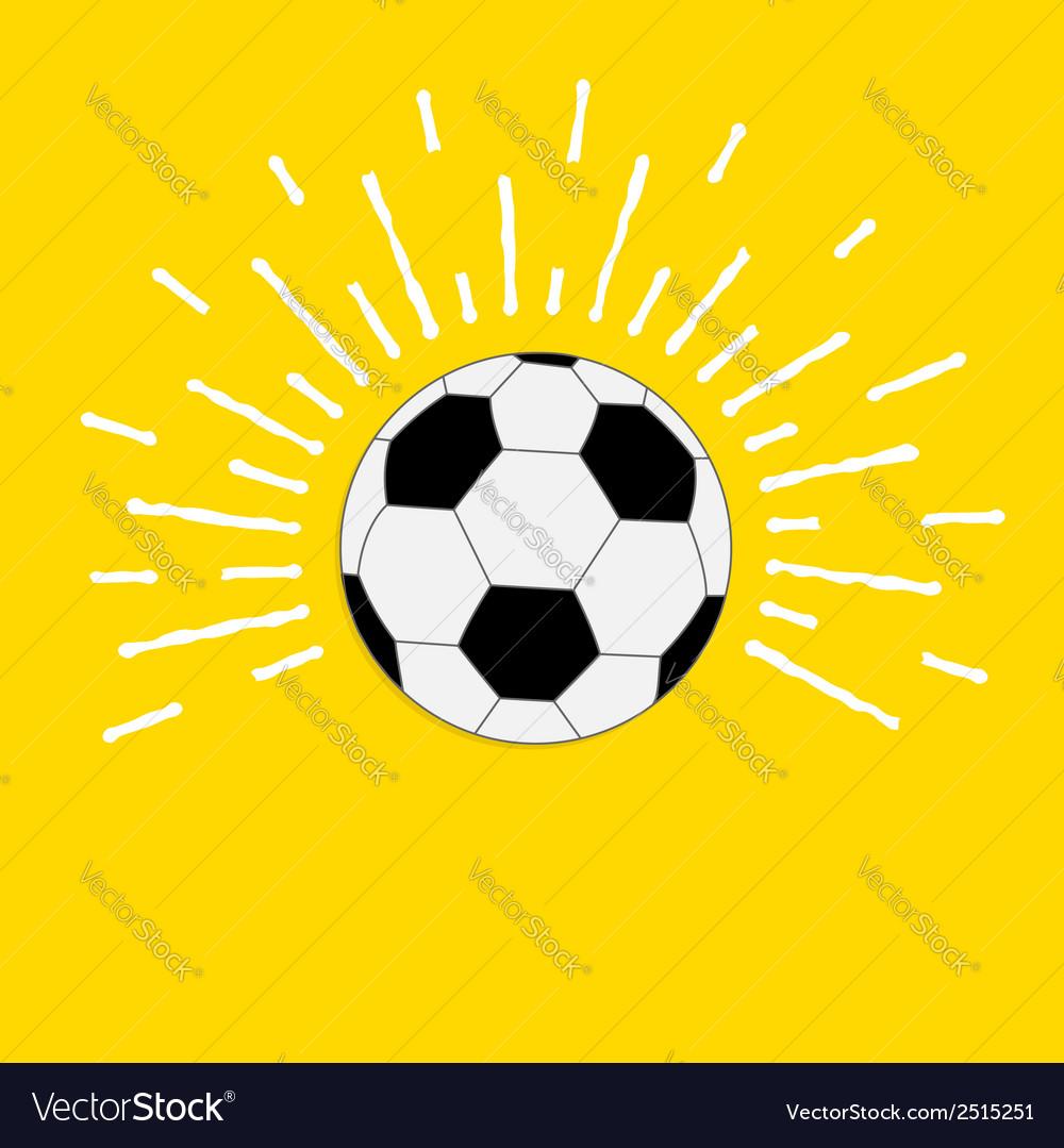 Football soccer ball with sunlight effect flat vector