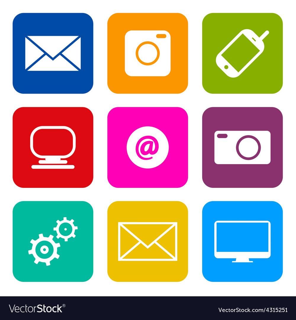 Technology internet communication icons set vector
