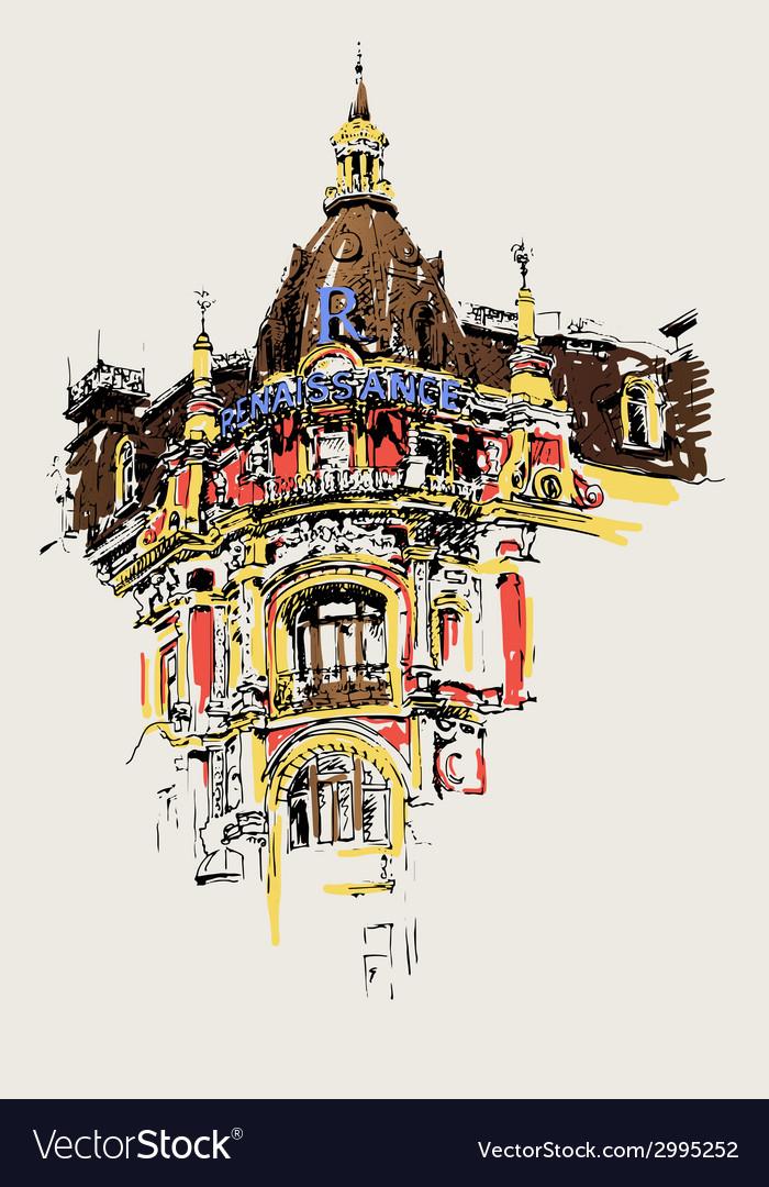 Digital drawing of old historic house in kiev vector
