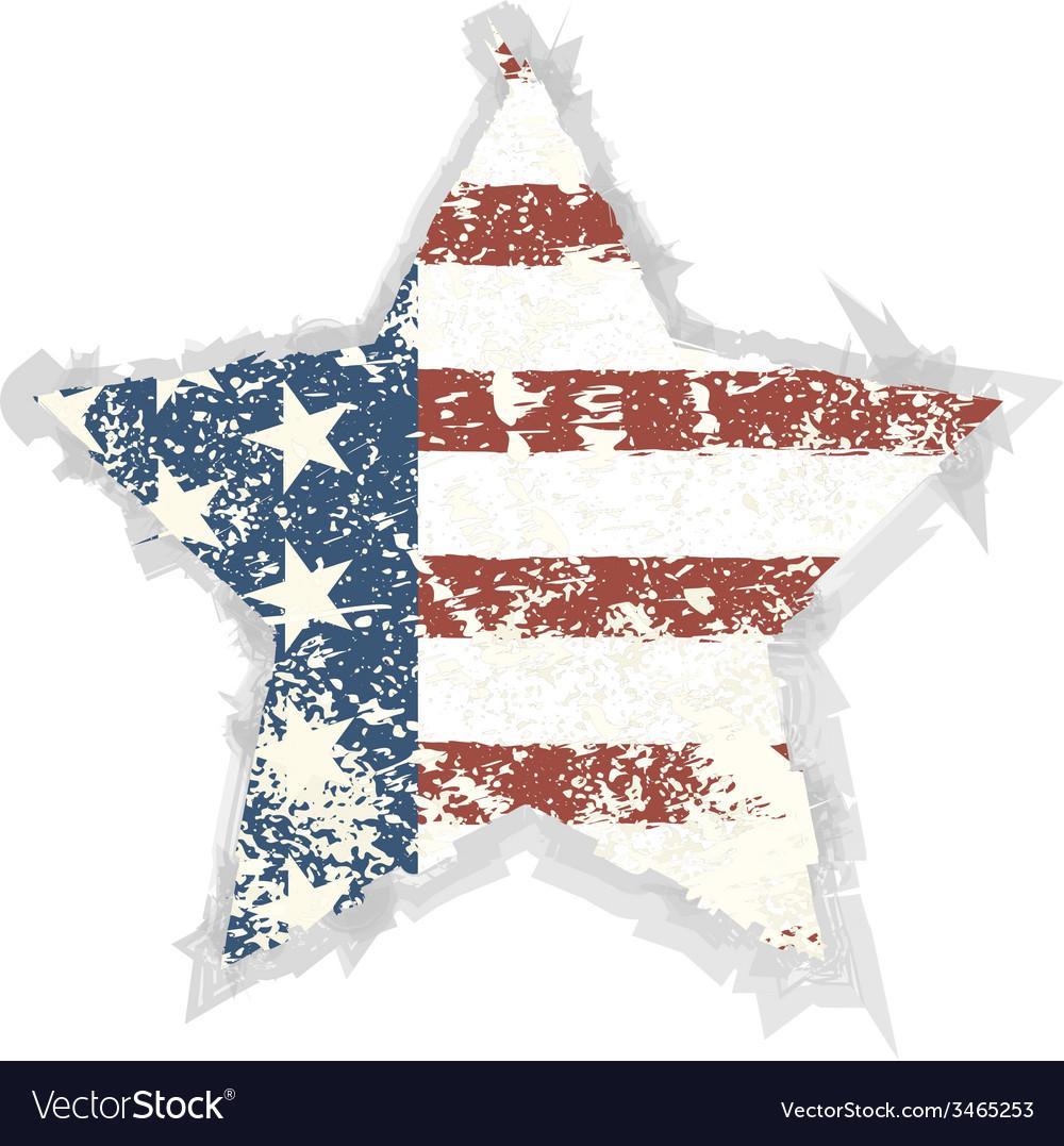 Star grunge american flag background eps 10 vector