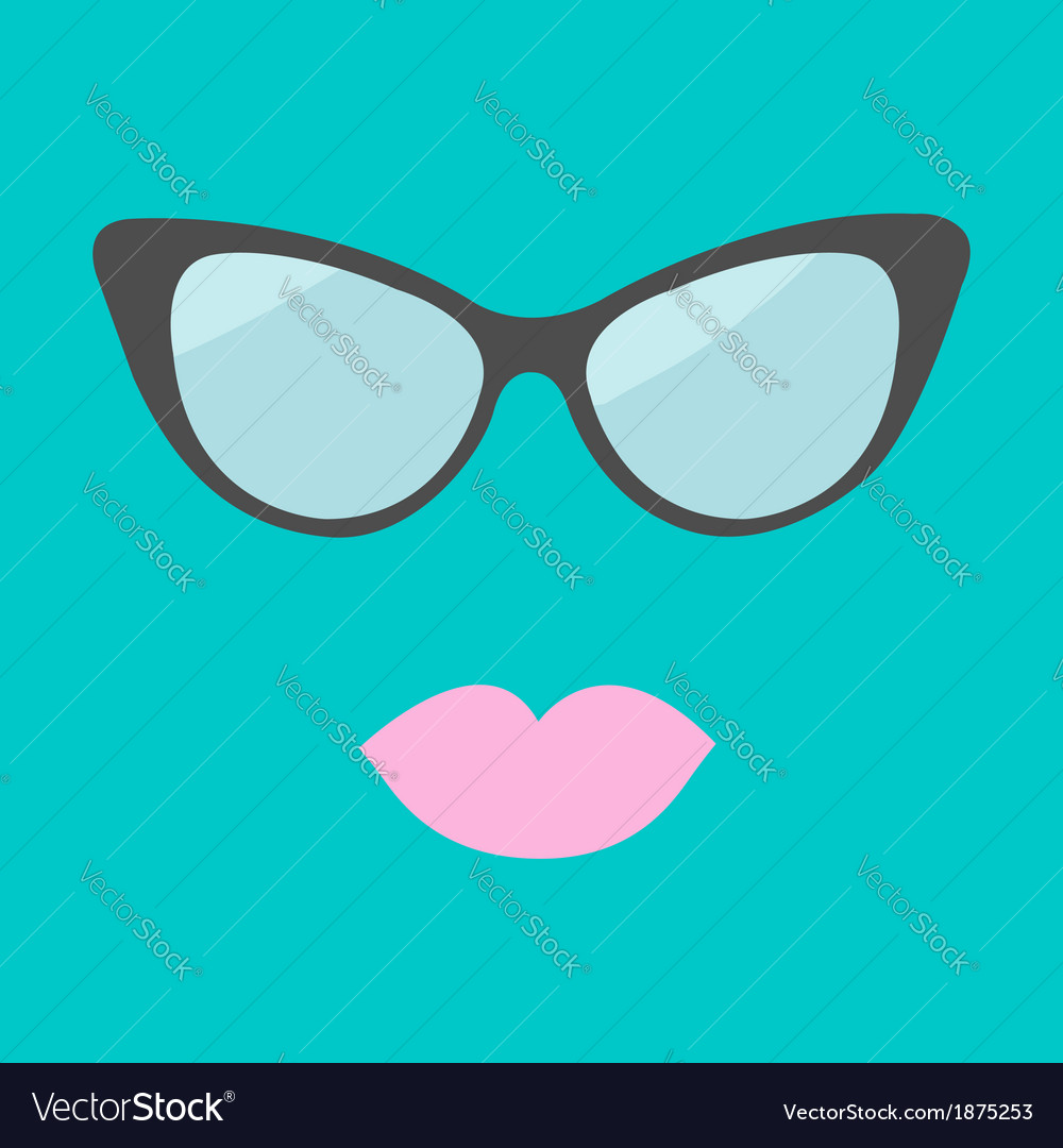 Womens glasses and lips flat design vector
