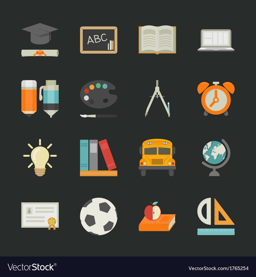 Education icons with black background  eps10 vect vector