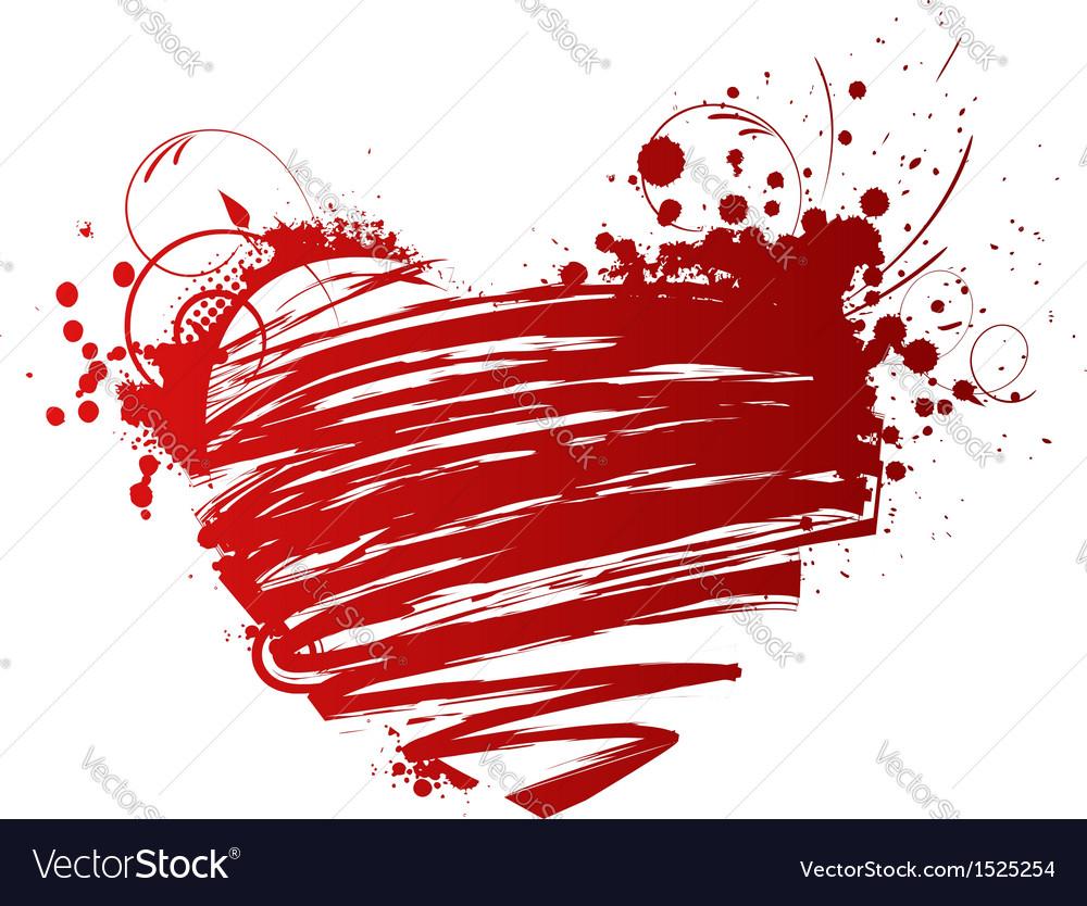Red grunge heart vector