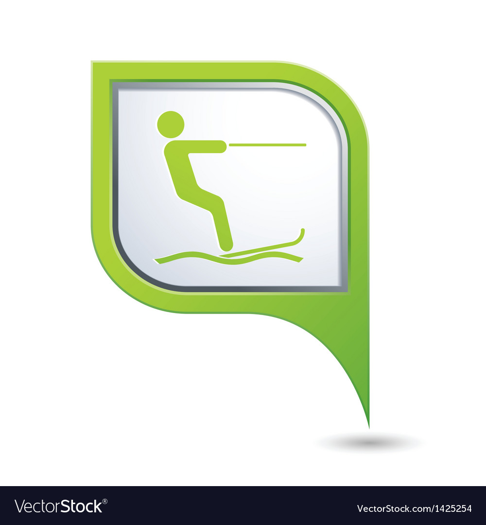 Water skiing sign symbol on map pointer vector
