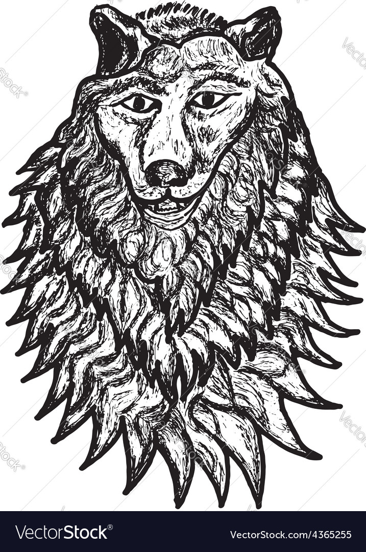 Abstract wolf sketch vector