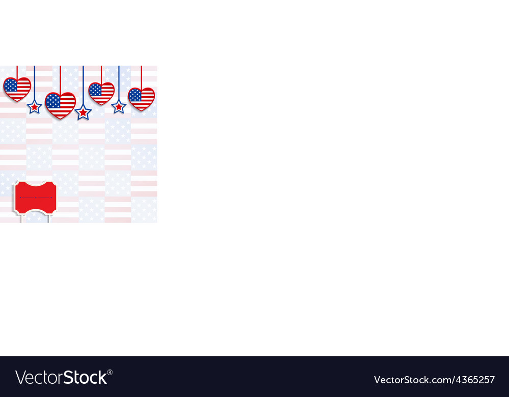 American background with hanging hearts and stars vector