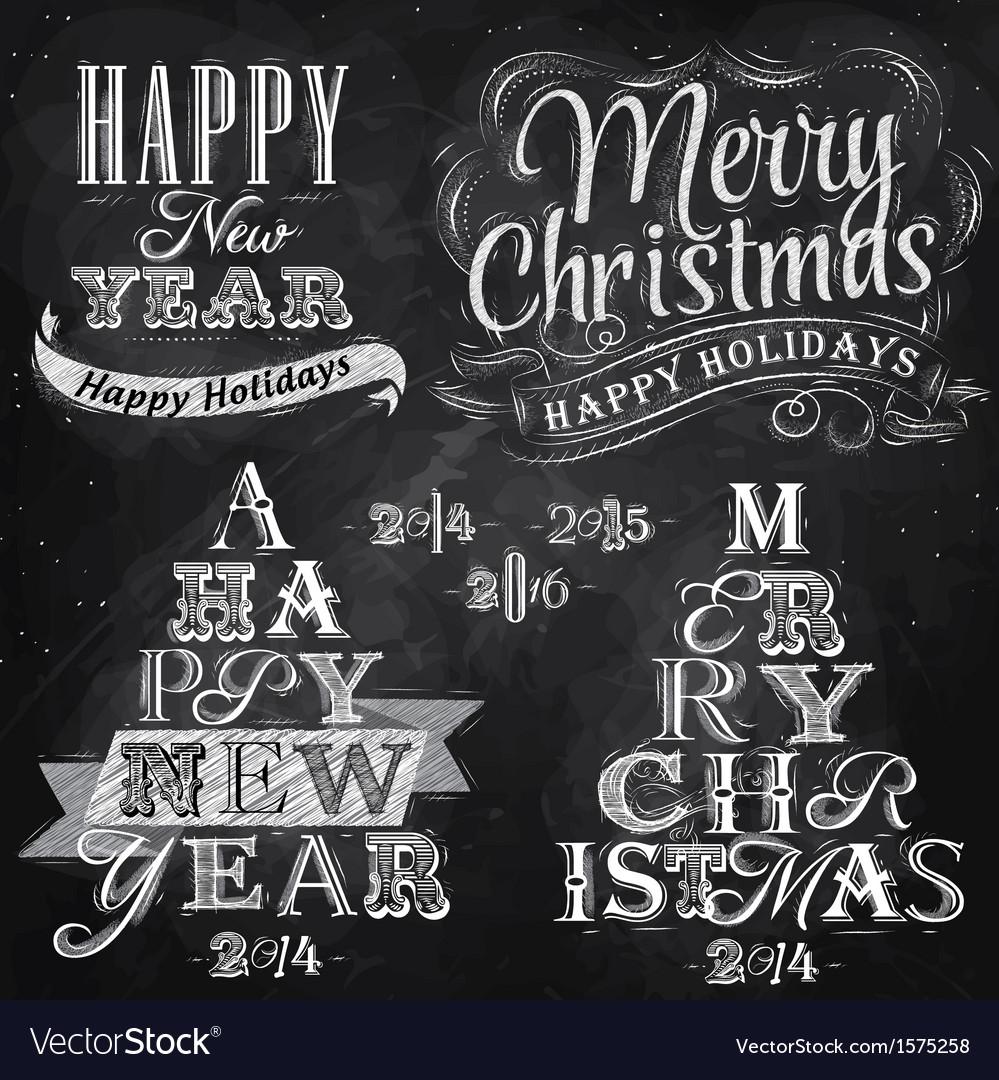 Set merry christmas happy chalk vector