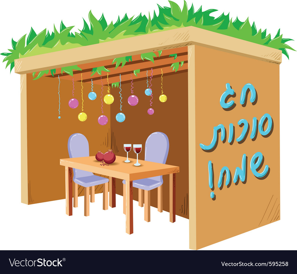 Sukkah for sukkot with table vector