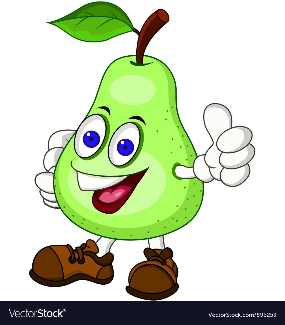 Pear cartoon character vector