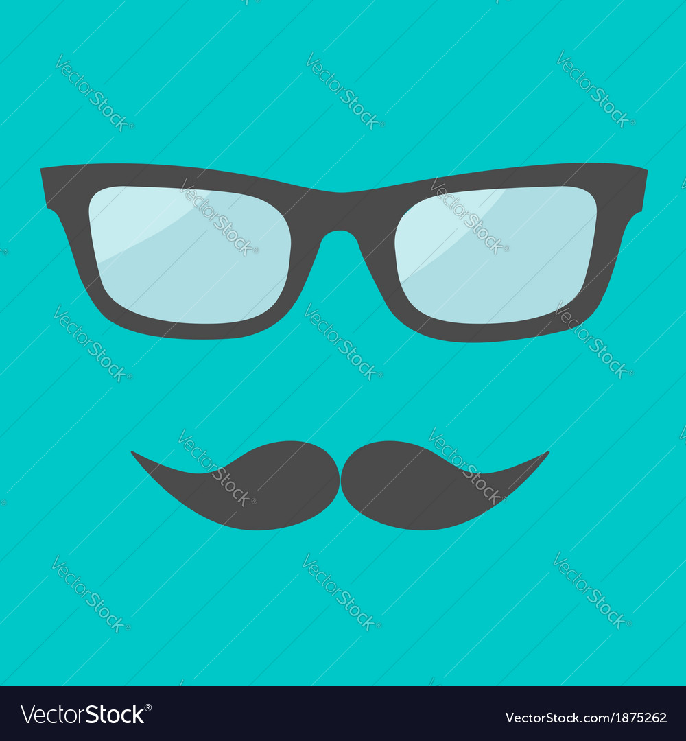 Mens glasses and moustache flat design vector