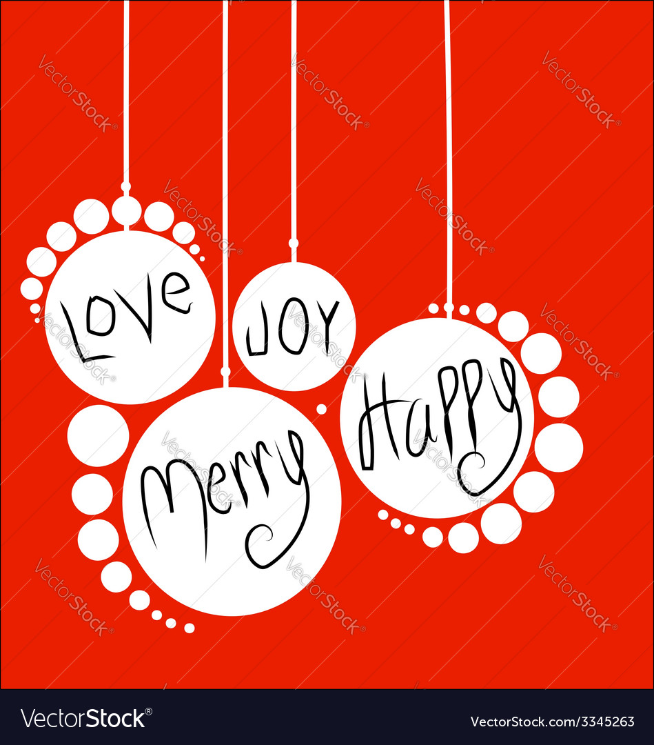 White christmas balls red holidays card vector