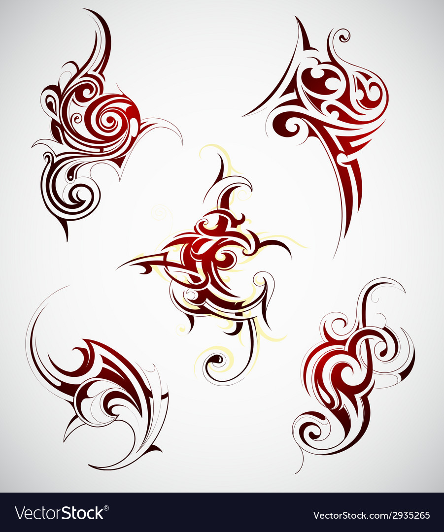 Tribal art tattoo set vector