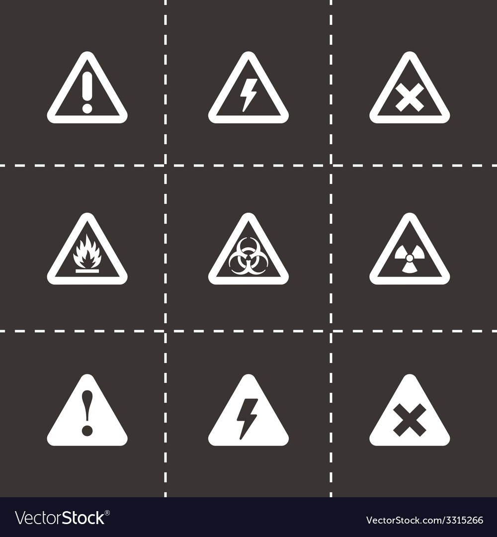 Black danger icon set vector