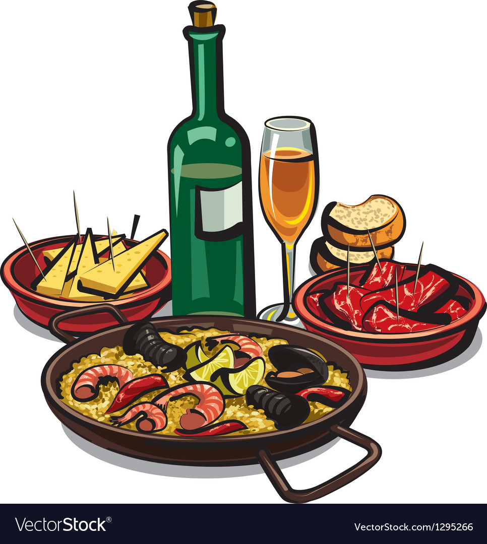 Paella with sea products vector
