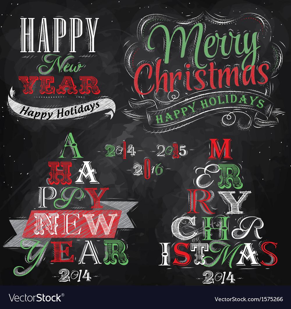 Set merry christmas happy chalk color vector