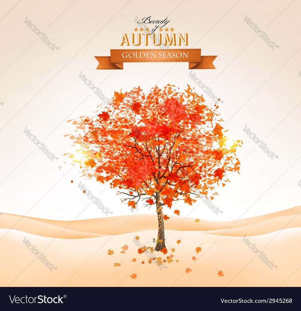 Autumn tree with orange leaves vector