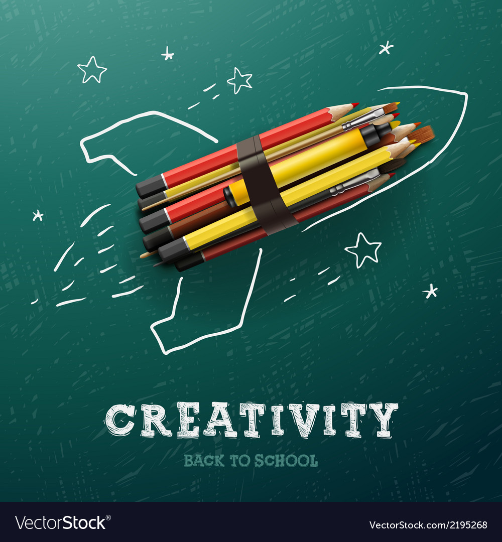 Creativity learning rocket ship launch with vector