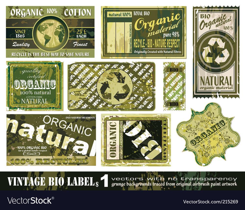 Vintage bio labels collection set vector