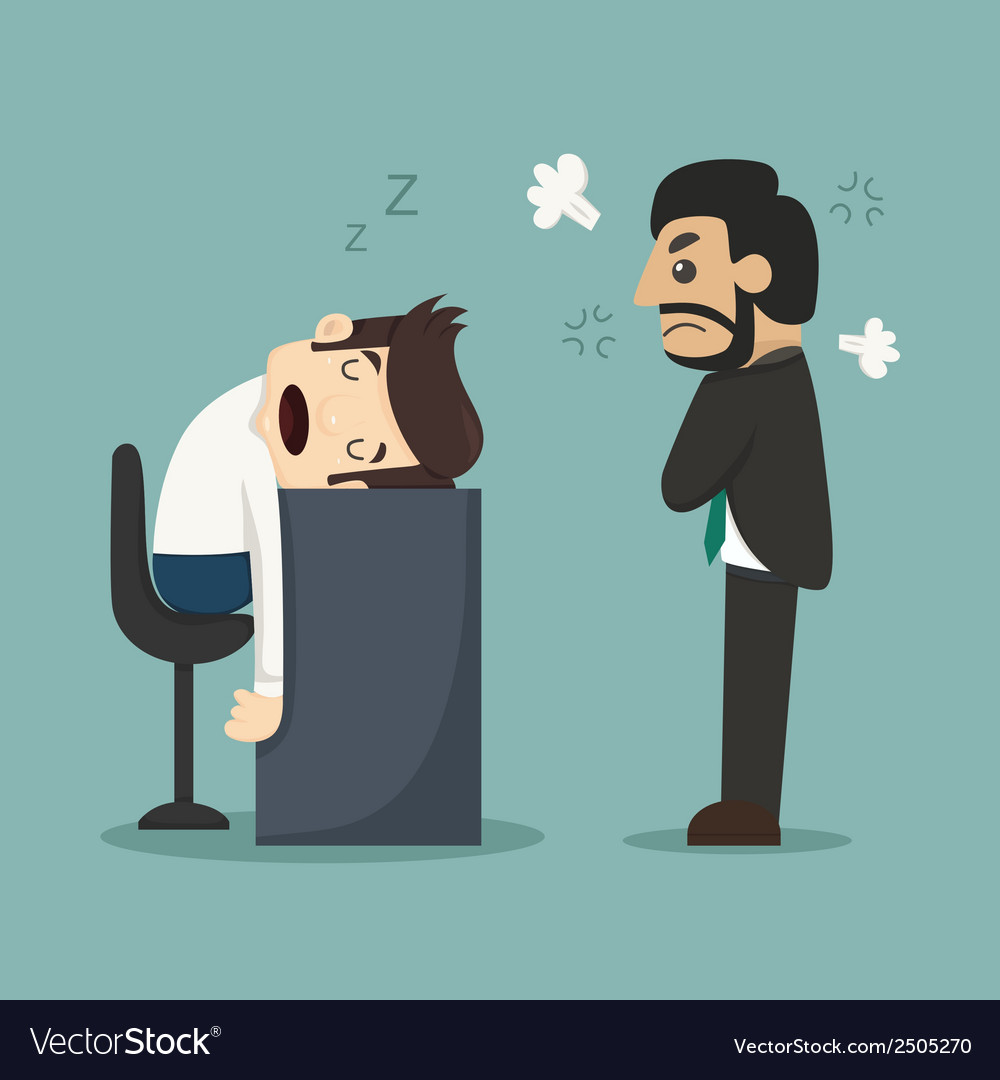 Businessman sleeping at his office desk vector