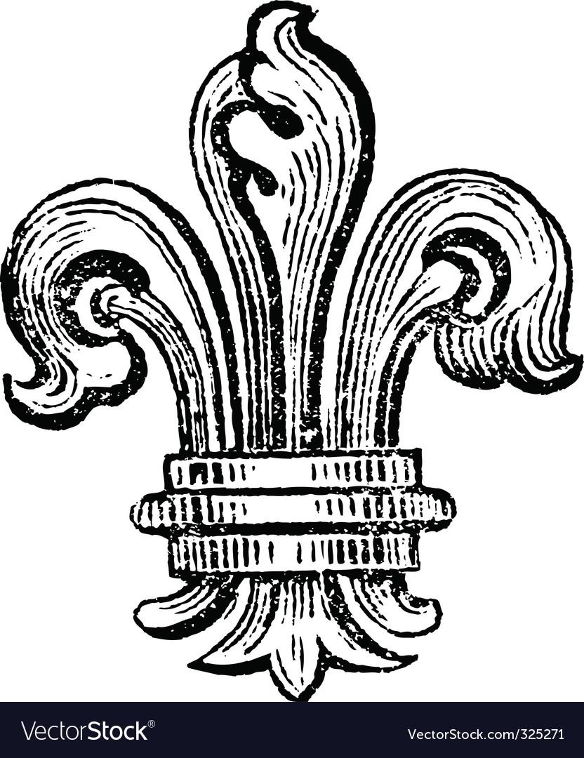 Distressed fleur-de-lis vector