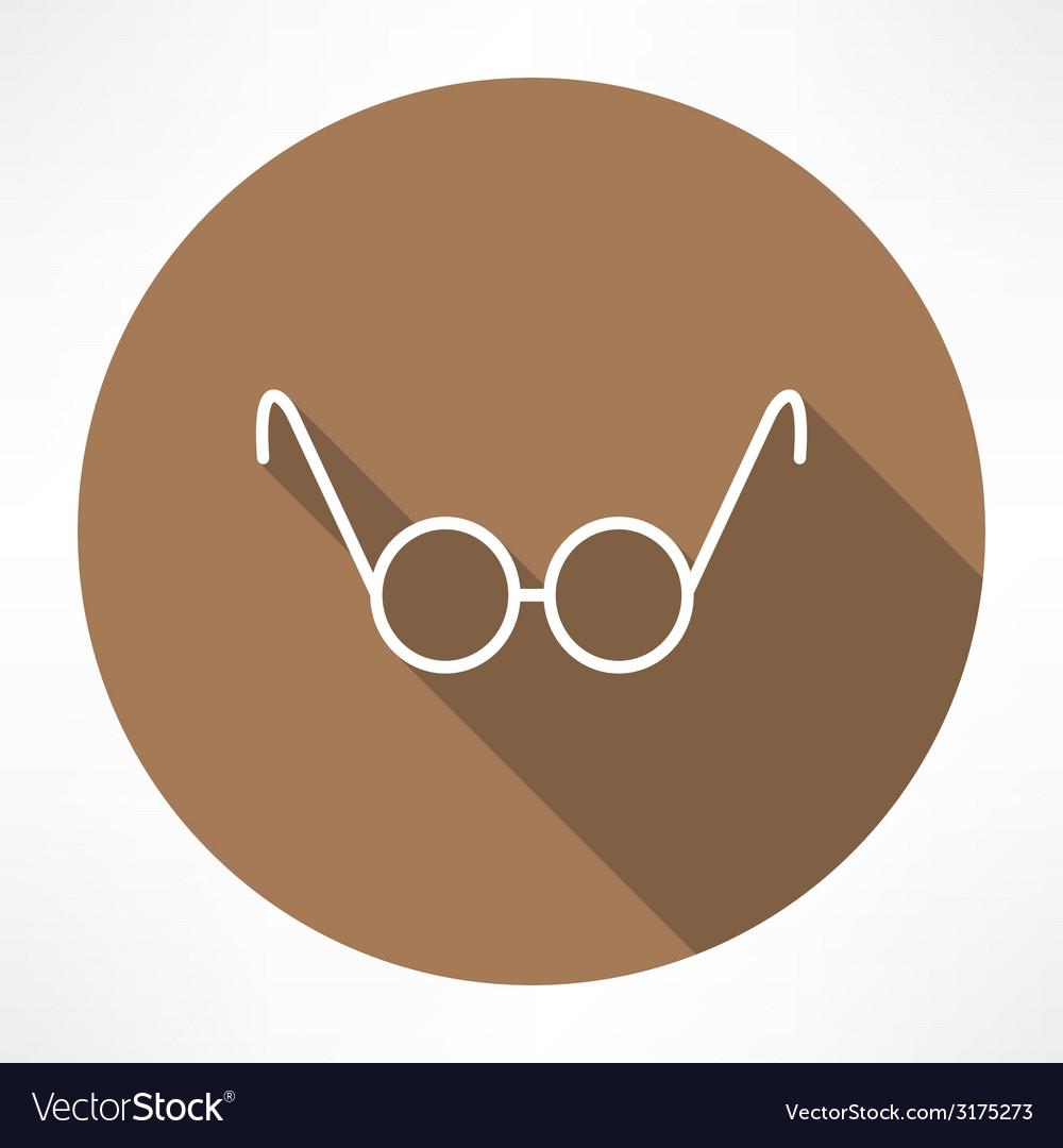 Round glasses icon vector