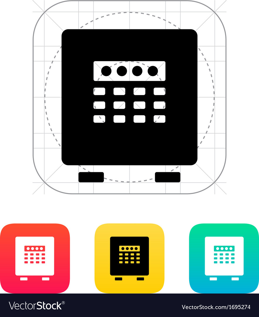Electronic safe icon vector