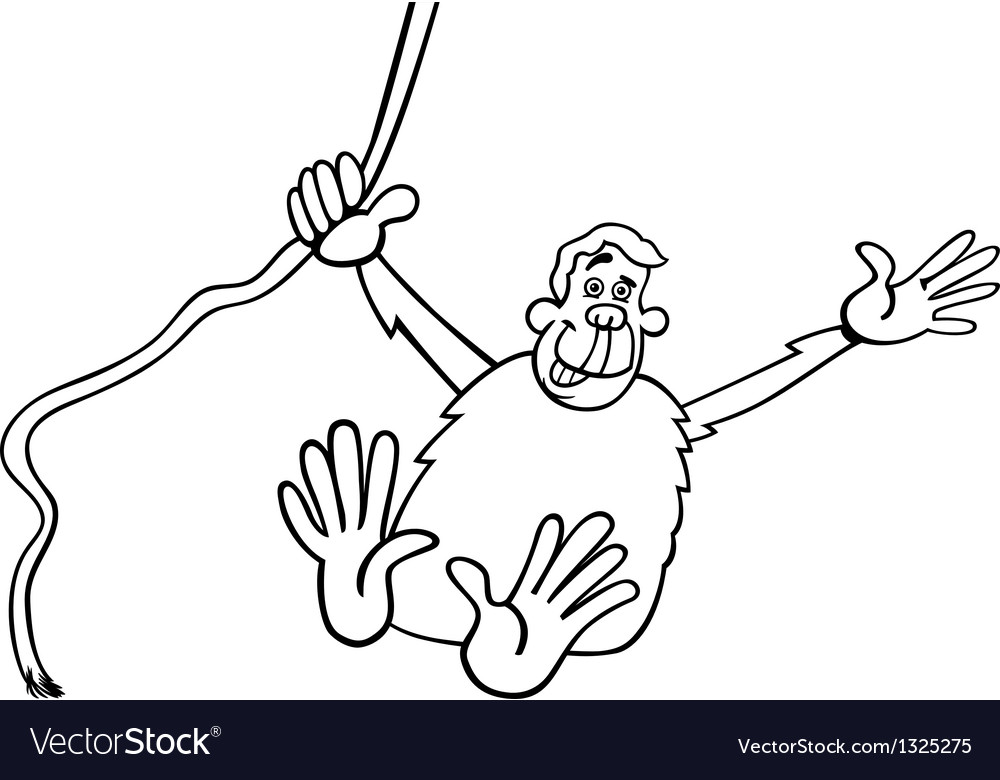 Chimp cartoon for coloring vector