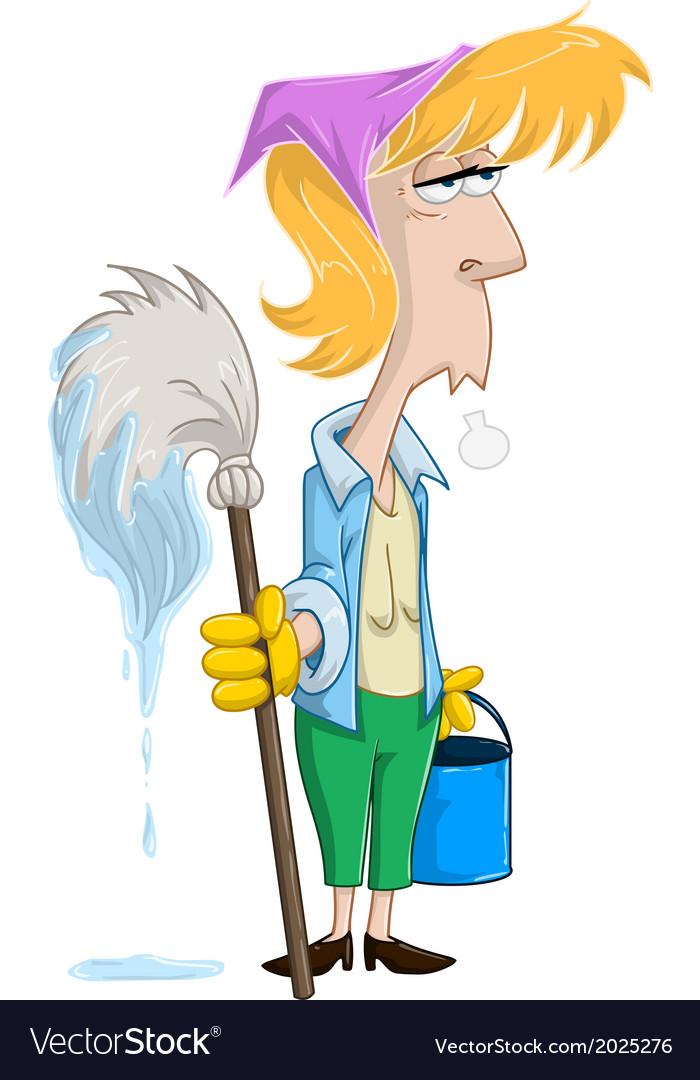 Tired woman with mop and bucket vector