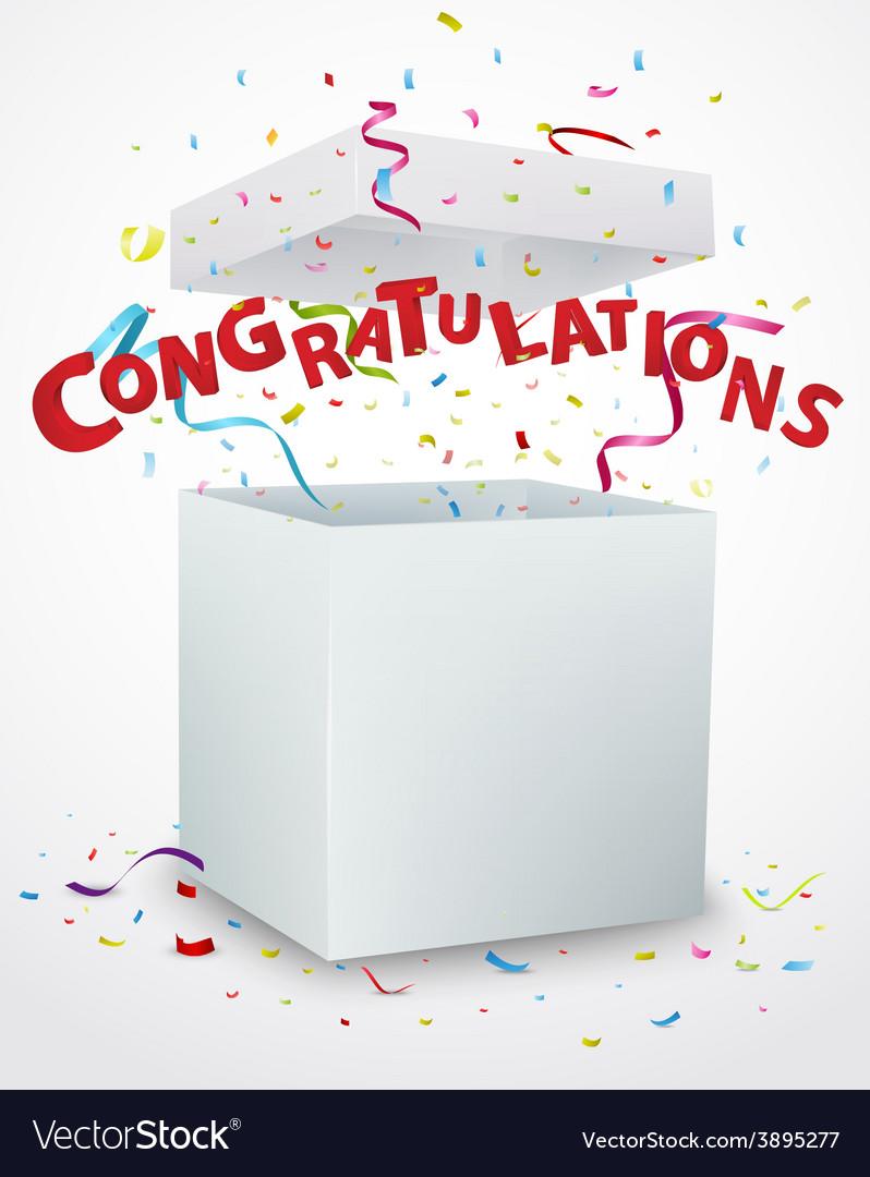 Congratulations message box with confetti vector