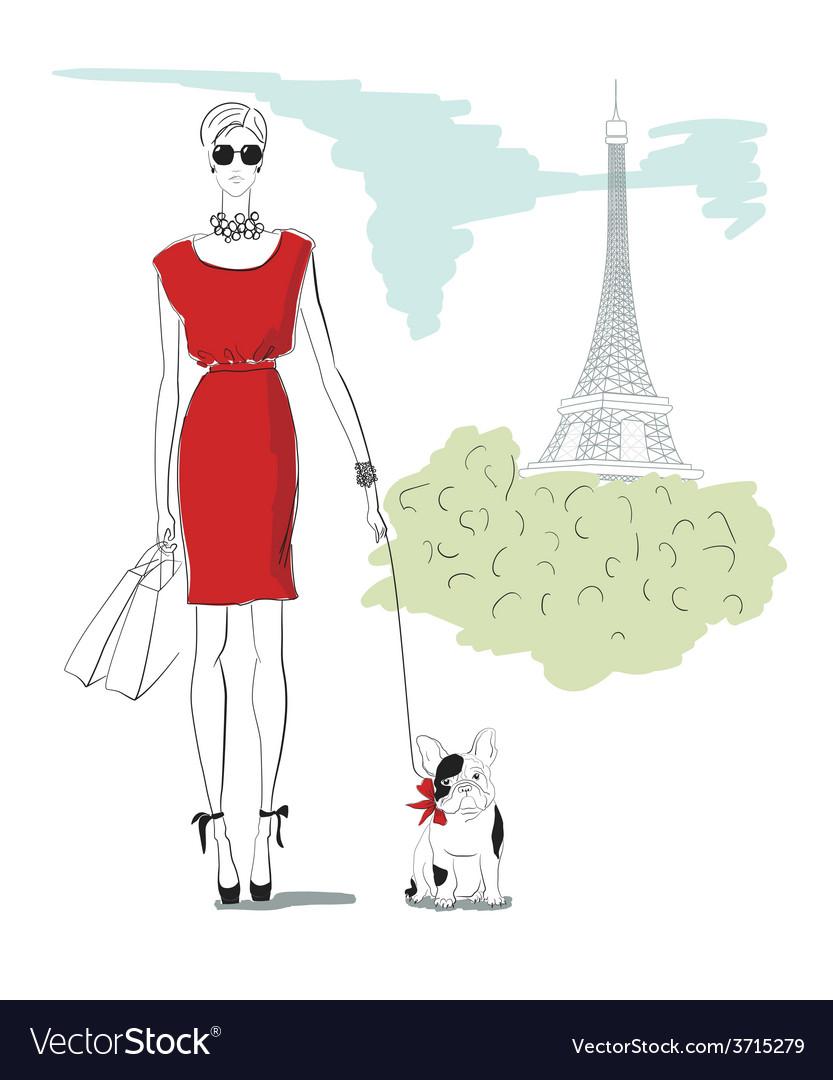 Girl wiht dog in paris vector