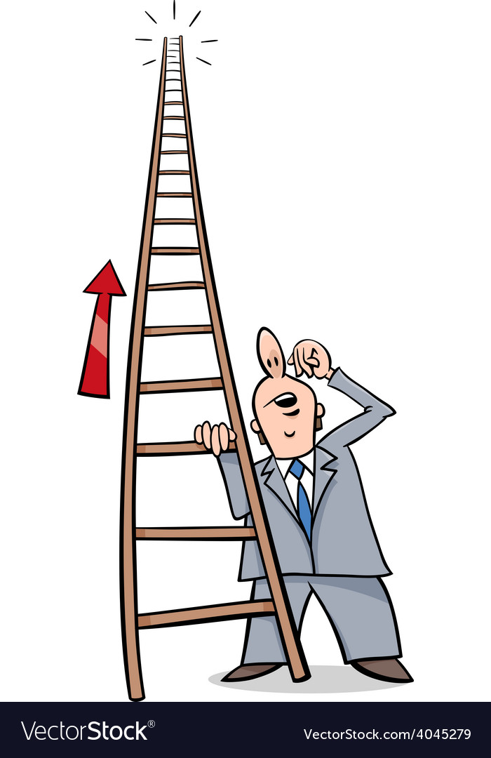 Ladder of success cartoon vector