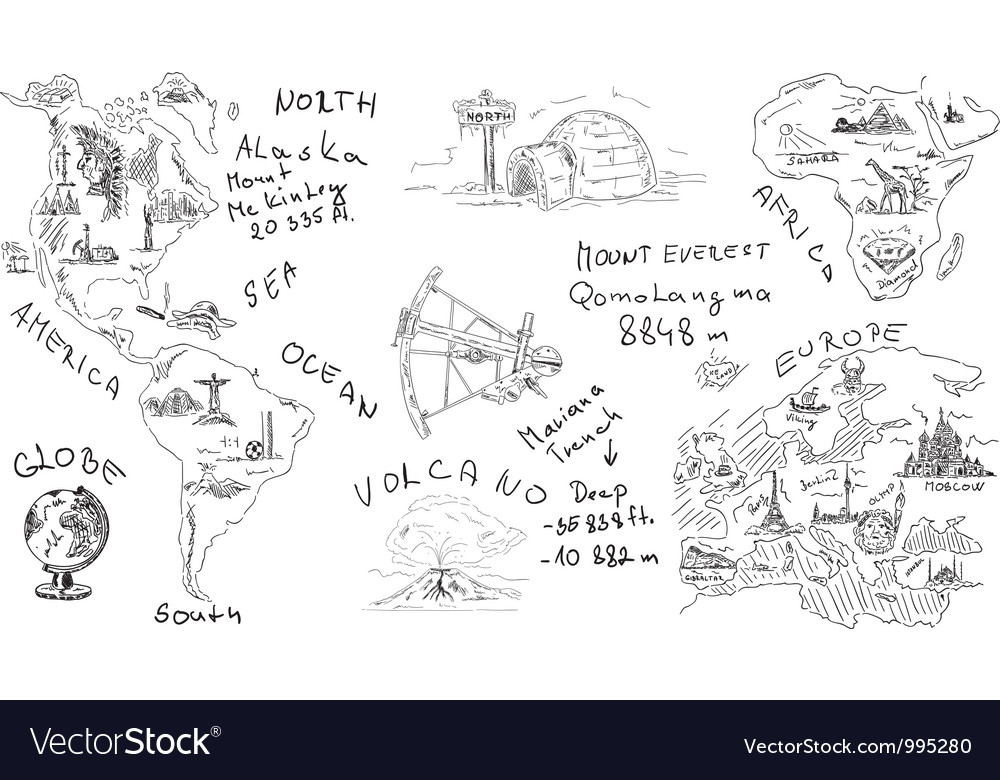 Geography theme vector