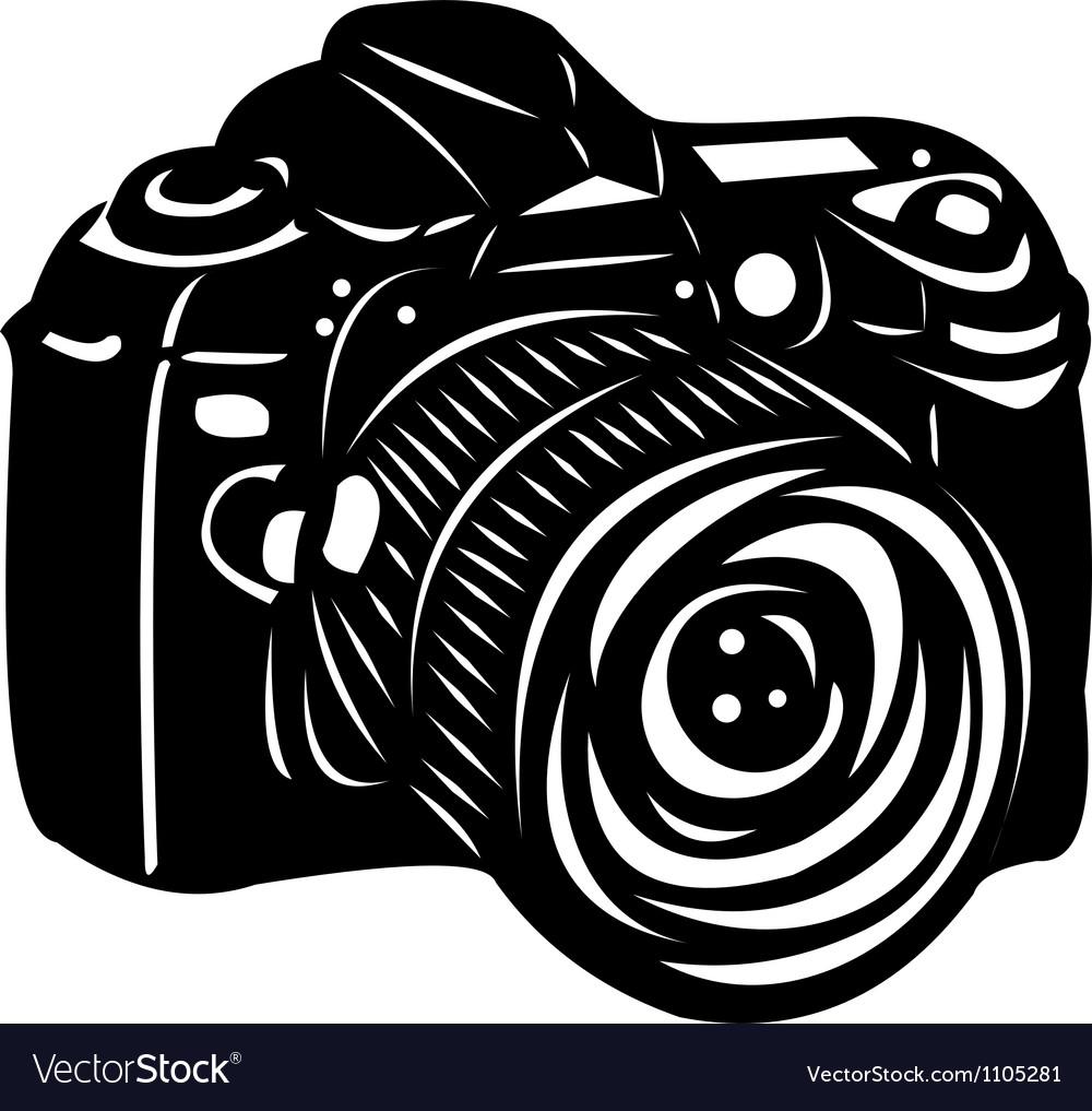 Black digital camera vector