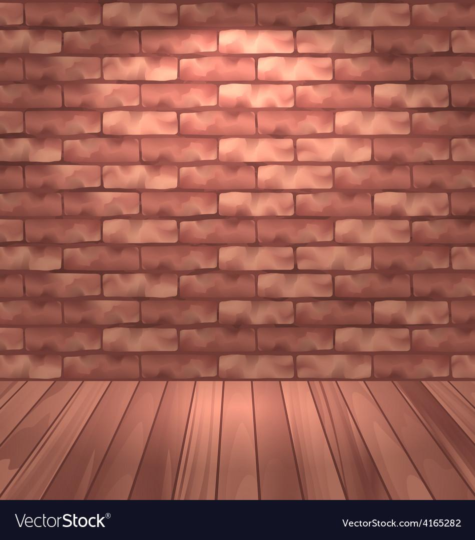 Brown brick wall with wooden floor empty room vector