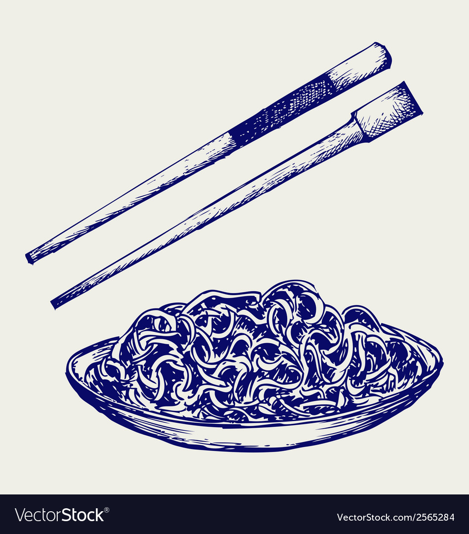 Noodle with chopsticks vector