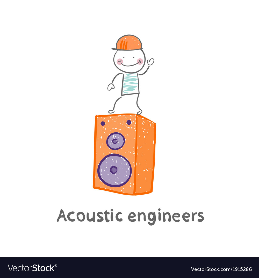 Acoustic engineer standing on a large column vector