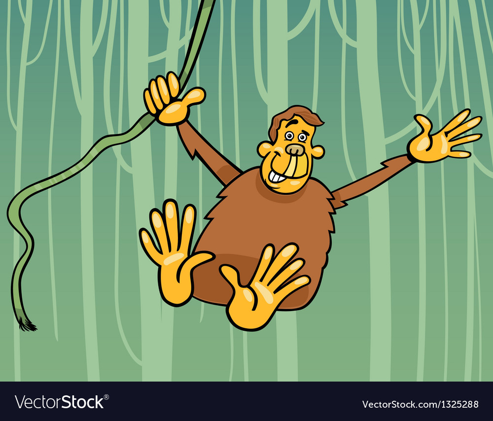 Ape in the jungle cartoon vector