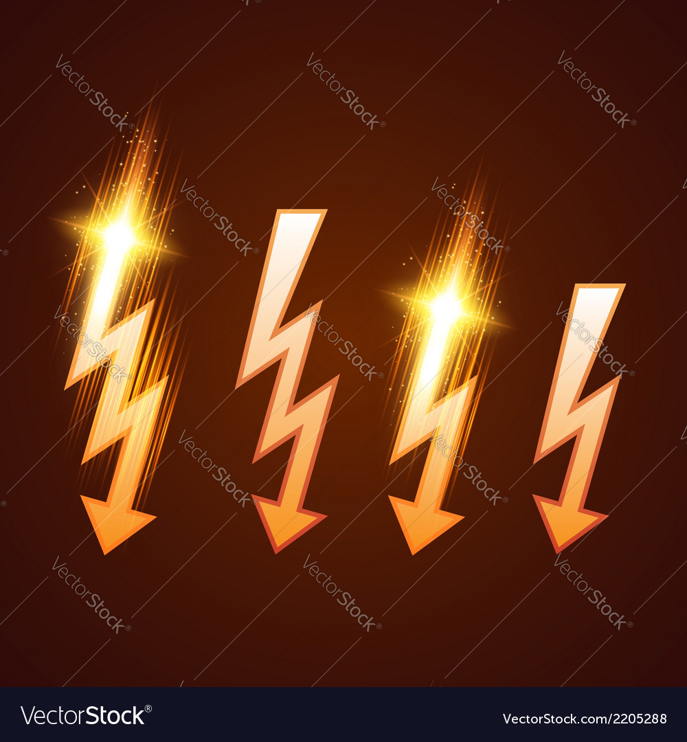 Shining lightning set vector