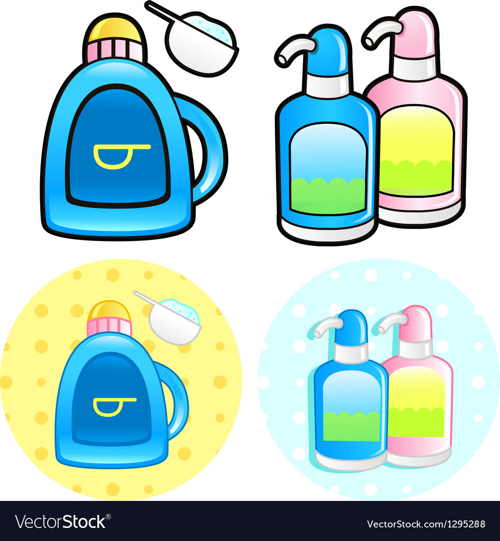 Various styles of shampoo and conditioner sets vector