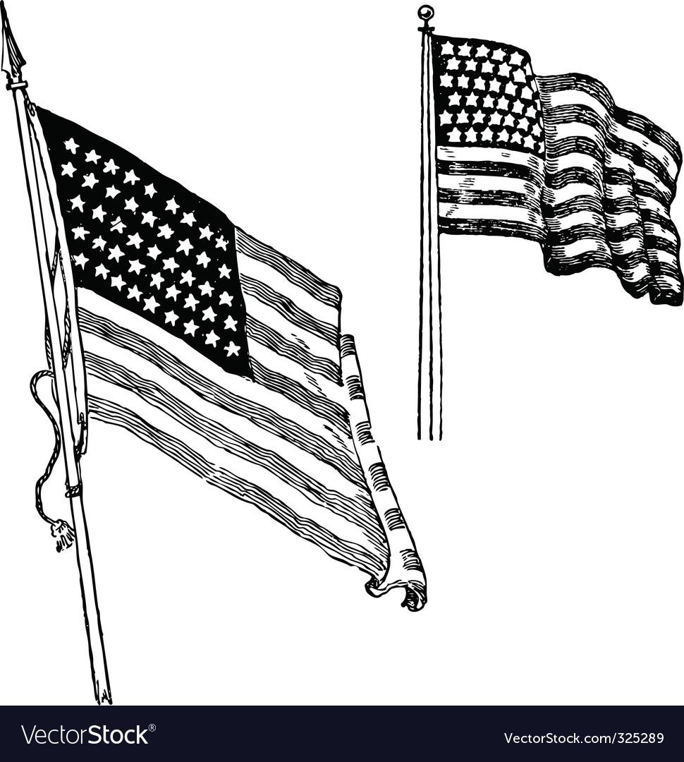 Us flag sketch vector