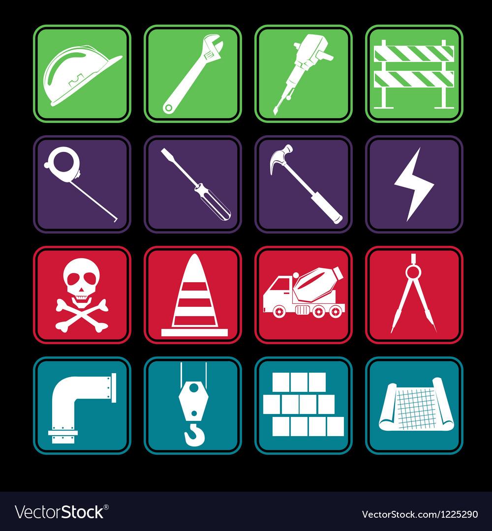 Construction icon set basic style vector