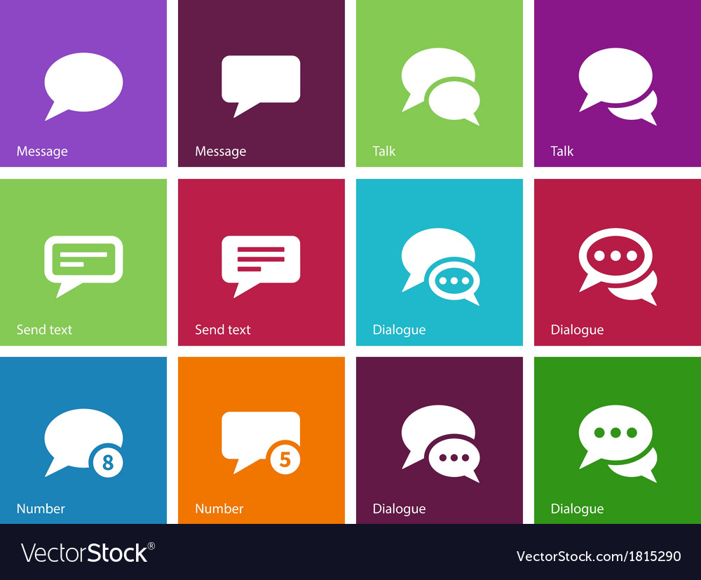 Message bubble icons on color background vector