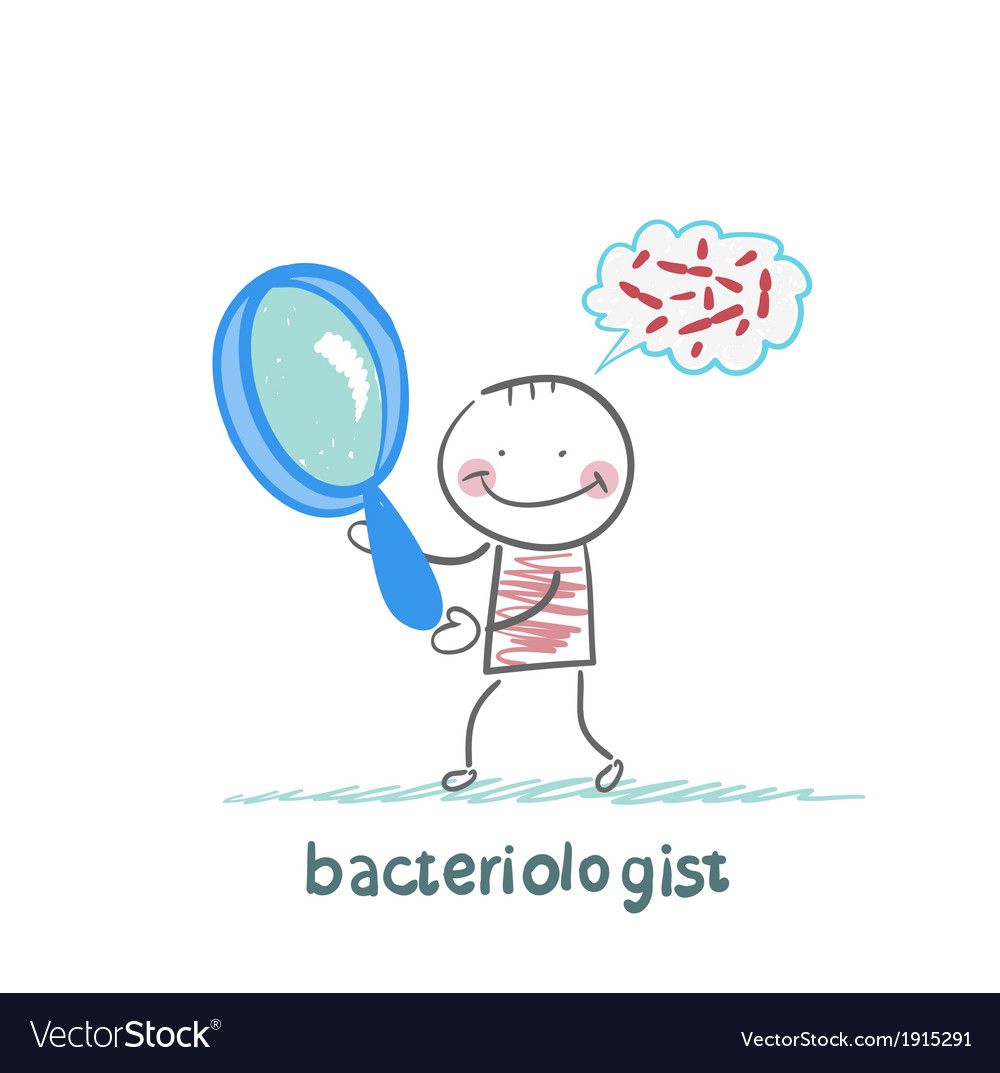 Bacteriologist looks through a magnifying glass on vector