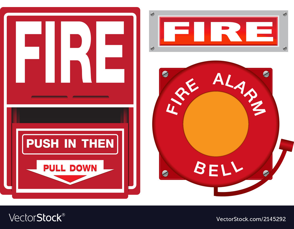 Fire alarm safety set vector