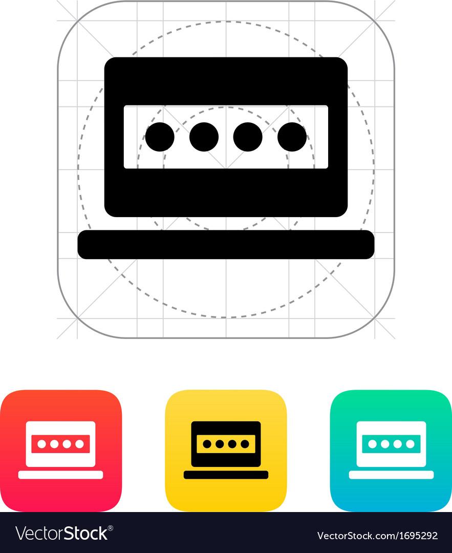 Password in laptop icon vector