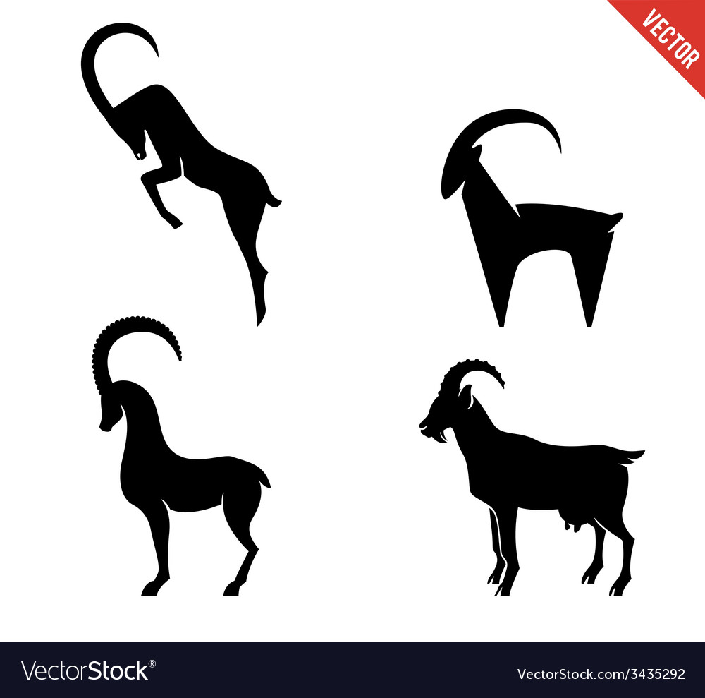 Set of black silhouette goats icon isolated on vector