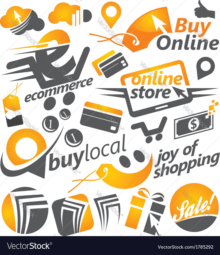 Set of shopping icons signs and symbols vector