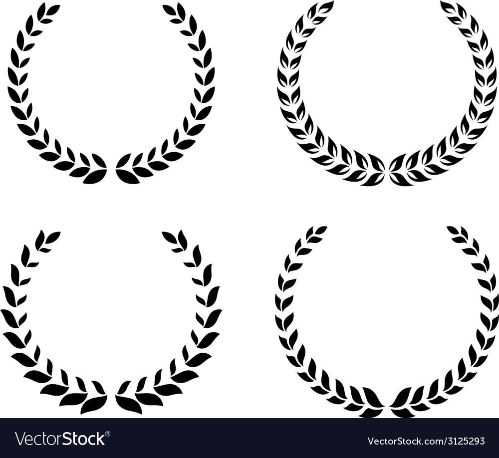 Black laurel wreaths set vector
