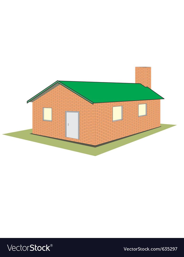 Brick house cottage vector