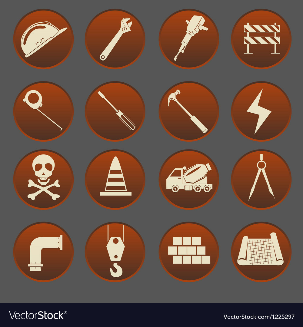 Construction icon set gradient style vector